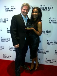 "Karen Bryson and Dave Kitchen ""Family Reunion"" winners of The Best of the Fest Triforce Short Film Festival"