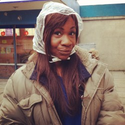 Karen Bryson staying dry on the set of Shameless