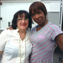 Karen Bryson and Alice Barry on location for Shameless