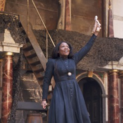 Karen Bryson in Macbeth at The Globe Theatre London.