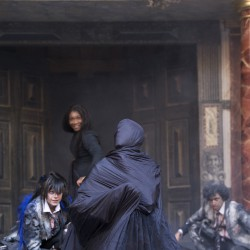 Karen Bryson, Shane Zaza and Rachel Winters in Macbeth at the Globe Theatre, London.