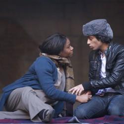 Karen Bryson at The Globe Theatre in Macbeth. Pictured with Shane Zaza.