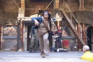 Karen Bryson playing Lady Macduff in Macbeth at The Globe Theatre London.