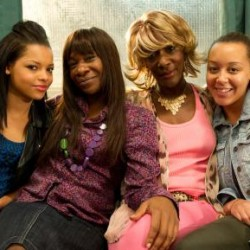 Karen Bryson on the set of Shameless. Pictured with Kira Martin, Adele Leonce and Jacqueline Boatswain.