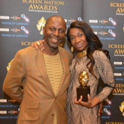 karen bryson and cyril nri at the screen nation awards. karen bryson winning of best TV actress award