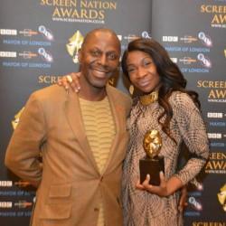 karen bryson and cyril nri at the screen nation awards. karen bryson winning of best TV actress award