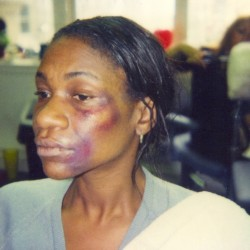 Karen Bryson behind the scenes make up trial for On My Birthday at The Royal Exchange Theatre