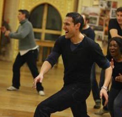 Karen Bryson and Nicholas Khan learning the jig in rehearsals at The Globe Theatre