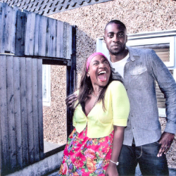 Karen Bryson playing Avril Powell in Shameless pictured with Emmanuel Igadaro